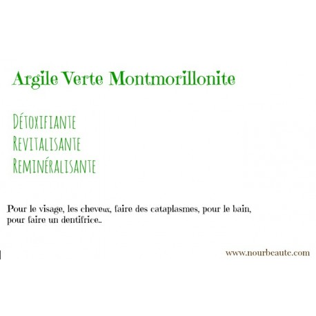 Argile verte illite, argile montmorillonites. 100 gr