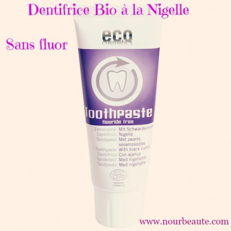 Dentifrice Bio à la Nigelle, sans Fluor. Eco Cosmetics. 75 ml