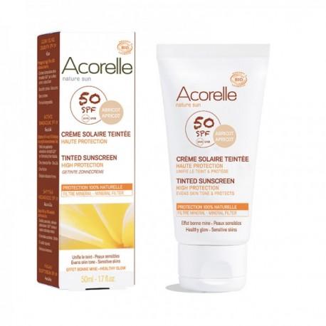 Crème solaire BIO SPF 50 teinte hâlé :abricot 50ml . Acorelle