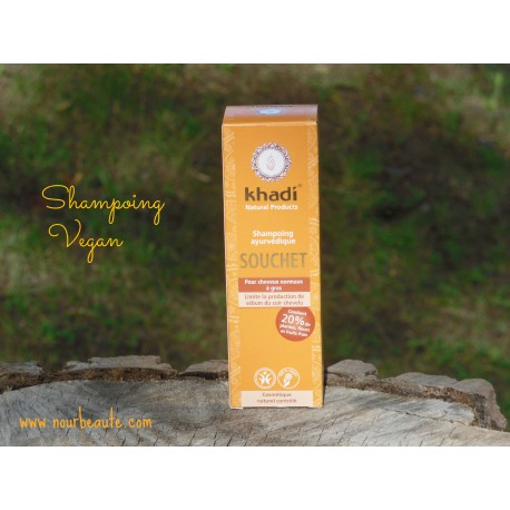 KHADI Shampoing Ayurvédique Souchet Cheveux Normaux à Gras 210 ml