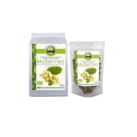 Mulberries, Mûres Blanches Certifié A B, 400 gr, Ecoidées