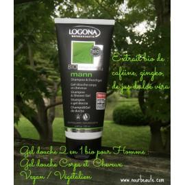 Logona, Gel Douche Corps et Cheveux Bio pour Homme au gingko et Aloé Véra. 200ml Vegan