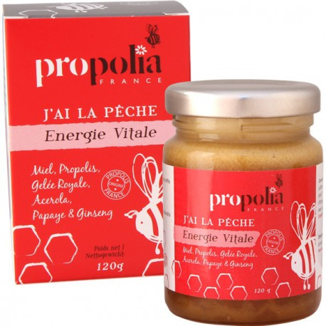 Propolia, J'ai la pêche, Energie vitale : Miel, Propolis, Gelée Royale, Acérola, Papaye, Ginseng