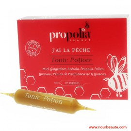 Propolia, J'ai la pêche :Tonic Potion: Miel,Gingembre, Acérola,Propolis,Pollen,Guarana,Pépins de Pamplemousse,Ginseng