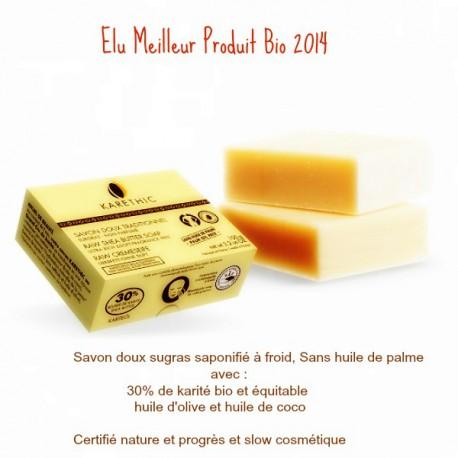 Karethic, Savon Doux Bio au beurre de karité, sans huile de palme, 100 Gr